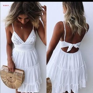 Dresses & Skirts - White Vintage Lace Backless Summer Dress 💗 NWT